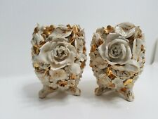 PORCELAIN  vases (2), intricate  floral design with gold decoration, Belleek?
