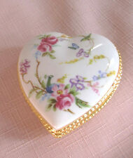 House of Ashley China , Peacock & Roses HEART TRINKET BOX . Unstamped
