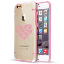 For Apple iPhone SE 5 6 6s 7 8 Plus Clear TPU Hard Case Leopard Print Love Heart