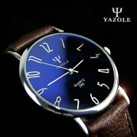Men Trendy Ultra Thin Minimalist Watch Slim Leather Strap Stainless Steel Quartz