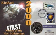 2000 KIRIBATI FIRST NATION OF THE NEW MILLENNIUM TEMPORA MUTANTUR $1 COIN FDC