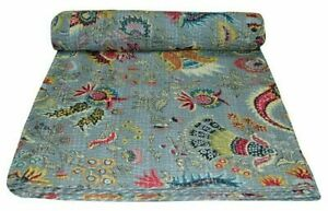 Cotton Kantha Quilt King Size Bedspread Indian Throw Blanket Ralli Bed Cover
