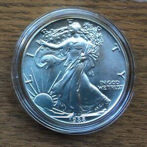H244 US USA UNITED STATES 1988 1OZ $1 SILVER BU UNC EAGLE COIN IN CAPSULE