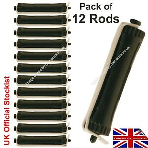 Perm Curler Rods Rollers Perming Hair Large BLACK Pack of 12 Professional