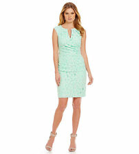 Adrianna Papell Pleated Floral Lace Sheath Dress Sz 14