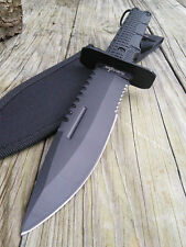 "SURVIVAL KNIFE 12"" FULL TANG SAWBACK Black Serrated Military Hunting Tactical"