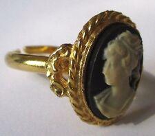 bague réglable bijou vintage couleur or beau camée buste femme noir beige 3497