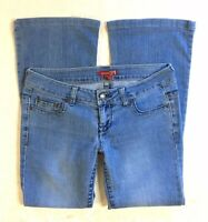 Rue21 Twenty One Womens Jeans Size 29 Blue Distressed Bootcut Low Rise Stretch