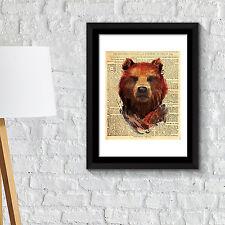 Wall Decoration Frames Bear Newspaper Animal Poster  Art Office Home Décor