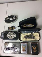 Lot Of 4 Vtg Harley Davidson Collectibles (Knife, Cigarettes, Clock, And More)