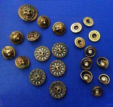 22 Vtg Metallic BUTTONS Gold Tone, Rhinestone Lion Flower Equipements Militaires