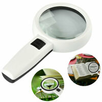 30X Handheld Magnifier Reading Magnifying Glass Lens With LED Light Lamp Jewelry