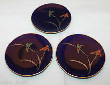 Japan Fukagawa Koransha Gold Trimmed Cobalt Blue 3 Small Plate Dish Set  Iris