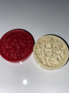Antique Carved Ivory Backgammon / Checkers Pieces 26