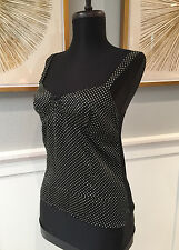 Velvet By Graham and Spencer Black White polka Dot tank Top tee Medium two tone