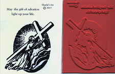 unmounted Religious rubber stamps    Jesus kneeling with Cross     2 images