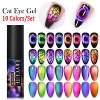 10 Bottles LILYCUTE 9D Cat Eye UV Gel Nagellack Magnetisch Lack Nagel Kunst Gel