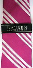 Ralph Lauren Tie Pink With White Stripe Silk Classic Width Handmade Raspberry
