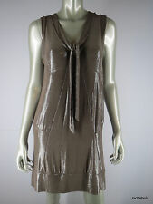 MARC BY MARC JACOBS M Metallic Taupe Stretch Knit Party Dress Med EUC