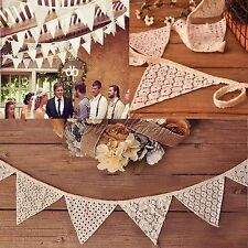 2x 2.3M White Cotton Lace Handmade Vintage Triangle Flag Bunting Banner 10 Flags