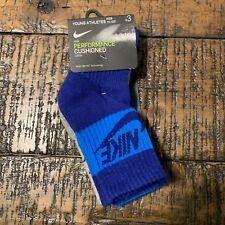 Nike Boys 3 Pair Performance Cushioned Crew Socks Sz 7C-10C Nwt Blue Gray Blue