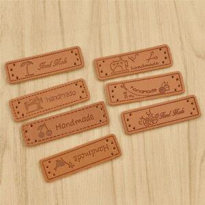 50/100Pc Handmade Etikette Label Kunstleder für Kleidung Süß Vogel Kirsche Nähen