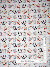 Puppy Dog Pet Faces on White Cotton Fabric Windham Take Me Home By The Yard