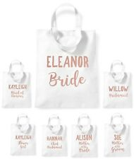 Personalised Bride Tote Bag Rose Gold Short Handle Storage Bridesmaid Party
