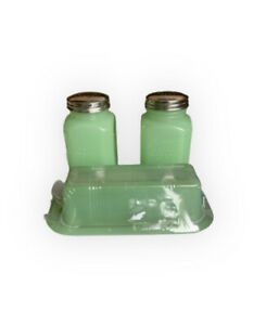 TableCraft Jadeite Green Glass Butter Dish,salt N Pepper Shaker Set