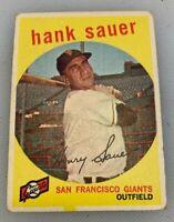 1959 Topps # 404 Hank Sauer Baseball Card San Francisco Giants