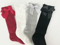 Girl Kid baby Ruffle Stripe knees Calf High Bow Cotton long Socks Tights 0-4Year