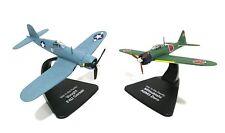 Lote 2 aviones MITSUBISHI A6M3 ZERO Y VOUGHT CORSAIR 1/72 PLANE ATLAS DIECAST