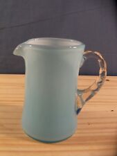 Fenton Blue Overlay Glass Creamer or Small Pitcher #2