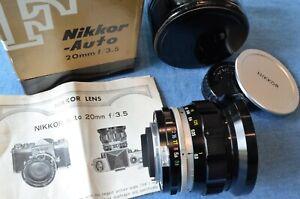 c.1968 Vintage Legendary Nikon F NIKKOR 20mm 1:3.5 UD Non-AI MINT IN BOX Tn FTn