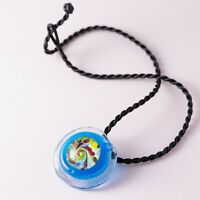 Colorful Hand Blown Artisan Dichroic Glass Braided Cord Pendant Necklace