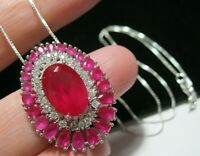 Beautiful Sterling SILVER Lab Ruby & Topaz Gem Stone Large Pendant NECKLACE
