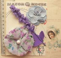 LAVENDER & BLUE Mix 3 Paper & Fabric Flower & Spray 3 Styles 25-70mm across VA6