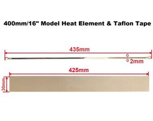 "2mm Width Heat Element & Teflon Tape for 400mm/16"" Impulse Heat Sealer Machine"