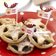 20 Navidad carne picada Pastel Palos alimentos Banderas Mecedor Rudolf Xmas Eve Noche Santa