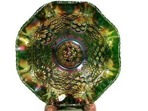 "Fenton Emerald Marigold Carnival Glass 10"" Bowl,Orange Tree and Cherry pattern"
