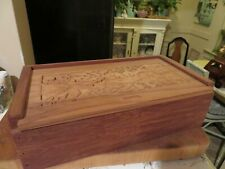 MENDOCINO WOODS Hand Carved Wood EMPTY Wine Box Slide Lid Grape Pattern
