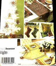 CHRISTMAS DECORATIONS  Pattern 4313 STOCKINGS TABLE RUNNER ORNAMENTS BAG MoRE