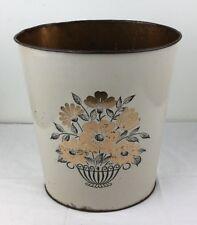 Vtg 1950's Decoware Tin Metal Wastebasket Gold Floral on Ivory Hollywood Regency