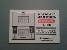 NINTENDO GAME & WATCH BLACK JACK BJ-60 ORIGINAL INSTRUCTION MANUAL MINT AS NEW