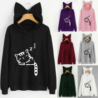 Women's Cat Ear Long Sleeve Hoodie Sweatshirt Hooded Pullover Tops Hoody Blouse