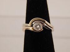 14K Gold Wedding Set G/VS Solitaire Round Diamond .51 ct Engagement Ring Unique