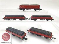 Z 1:220 Maßstab Märklin Mini-Club Güterwagen Freight Cars Auto Set 5x <