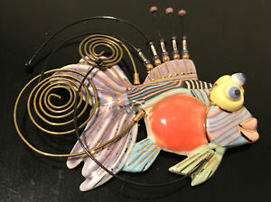 Cynthia Chuang Jewelry 10 Porcelain Tropical Fish Large Pin Brooch