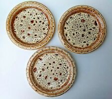 Fosters Pottery honeycomb pattern side plates. Three plates 7 ¼ inch (185 mm)