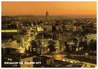 Jerusalem: The Golden City Partial View at Night Israel, Palestine Rare Postcard